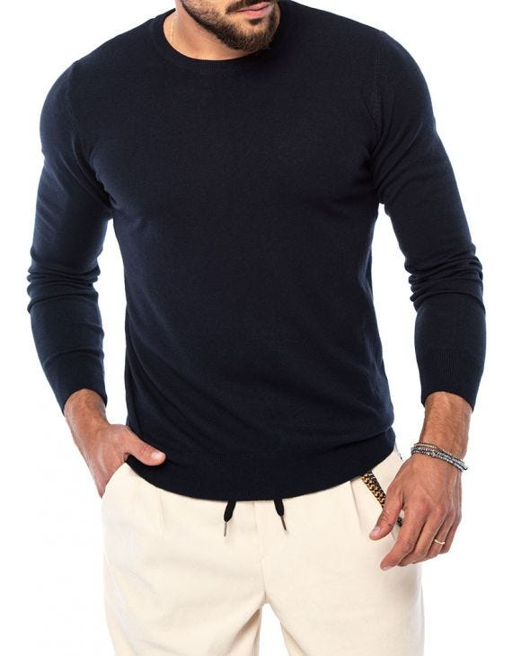 LARRIE CREWNECK SWEATER IN BLUE