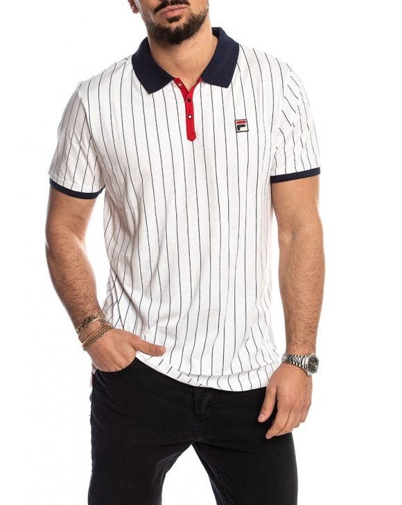 MEN BB1 CLASSIC VINTAGE STRIPED POLO IN WHITE
