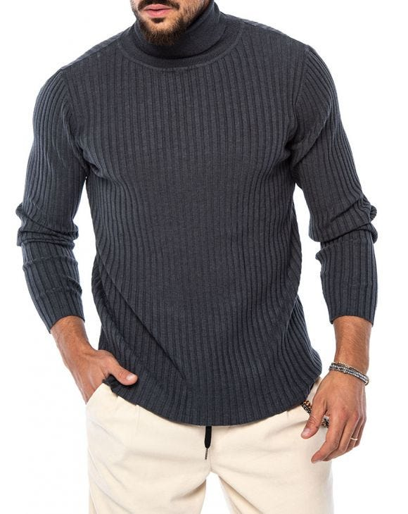 ROBERT ROLLNECK SWEATER IN DARK GREY