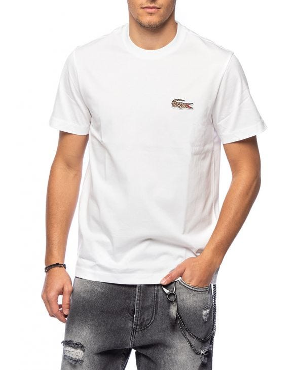LACOSTE X NATIONALES GEOGRAPHISCHES T-SHIRT IN WEISS