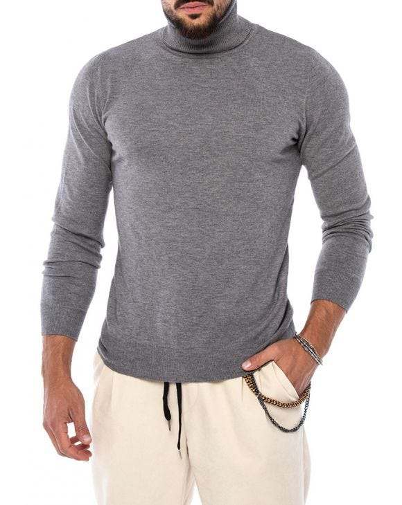 LARRIE ROLLNECK SWEATER IN GREY