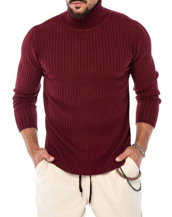 ROBERT ROLLNECK SWEATER IN BORDEAUX