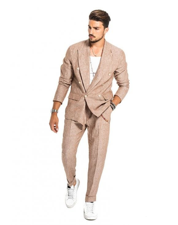 HAROLD DOUBLE BREASTED SUIT IN RED SAND