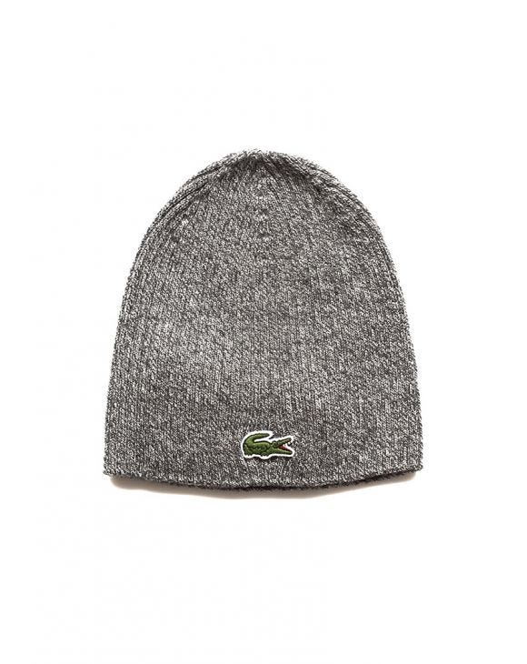 CROCODILE RIBBED BEANIE IN GREY