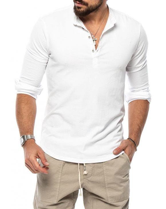 JEM HENLEY T-SHIRT IN WHITE