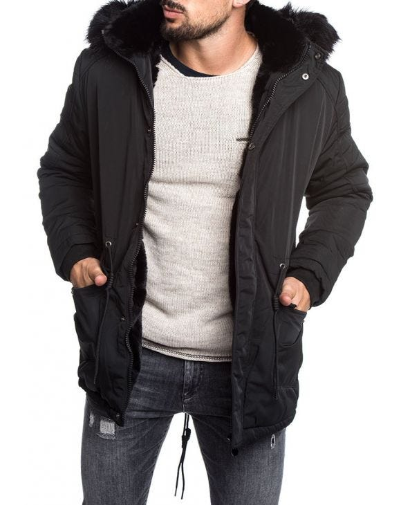 PADDED PARKA IN BLACK WITH FAUX FUR HOOD