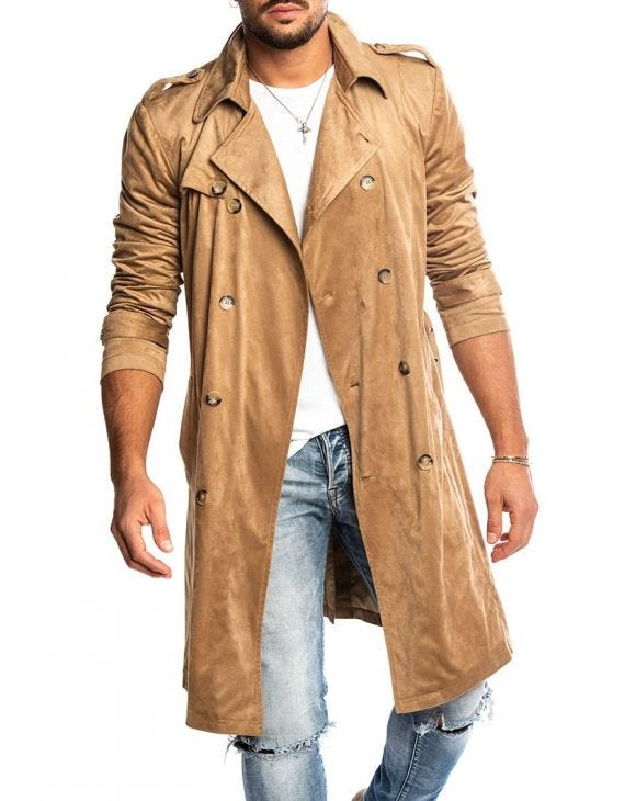 DAMASCO SUEDE DOUBLE BREASTED COAT IN CAMEL