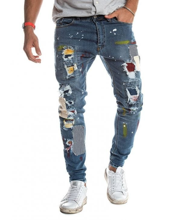 TOBAGO PATCHED JEANS EN BLUE