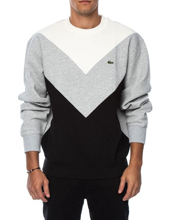 LACOSTE COLORBLOCK SWEATSHIRT IN GREY, WHITE AND BLACK