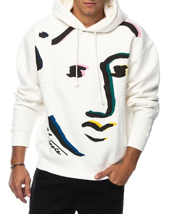 LACOSTE LIVE FACE DESIGN HOODIE IN WHITE