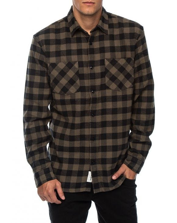 CHECKED SHIRT IN GREEN BUFFALO