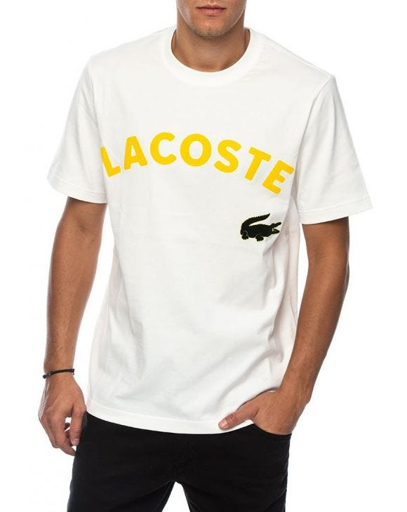 LACOSTE L!VE PRINTED T-SHIRT IN WHITE AND YELLOW
