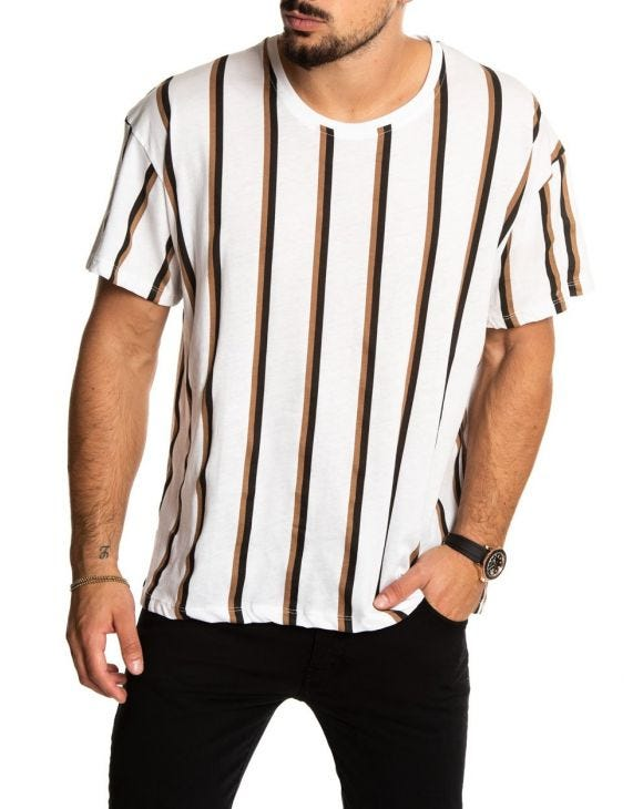 KIER STRIPED T-SHIRT IN WHITE