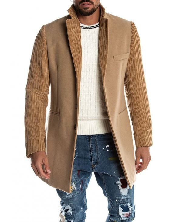 VELOUR SEATTLE COAT IN BEIGE