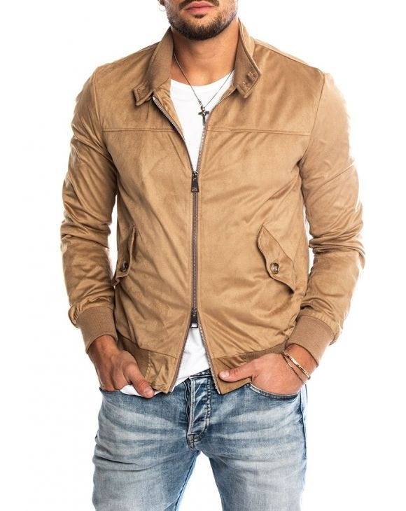 RUSSEL ECO LEATHER JACKET IN CAMEL
