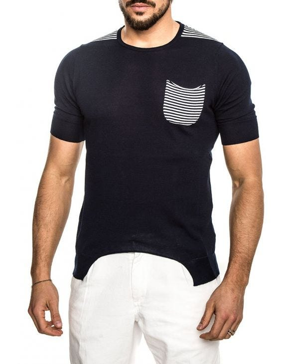 NEFAS COTTON TSHIRT IN NIGHT BLUE
