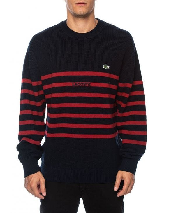 CREWNECK SWEATER IN STRIPED BLUE AND RED