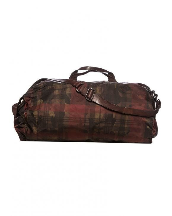 C018 DUFFEL BAG IN BROWN AND RED