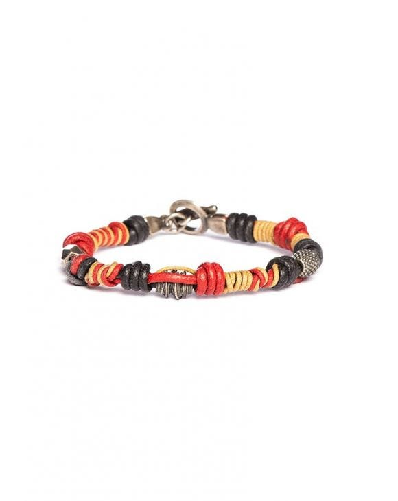 MULTICOLOR BEADS BRACELET IN SILVER AND COTTON