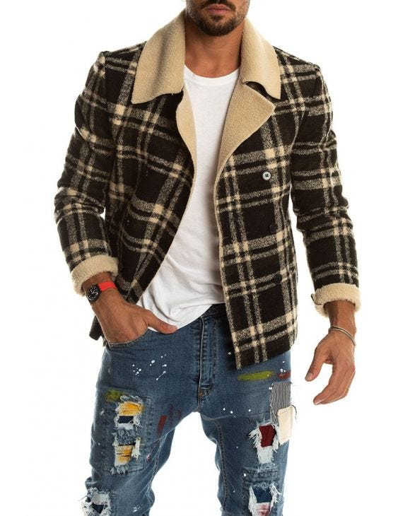 PENNYWISE CHECKED PEACOAT IN BLACK