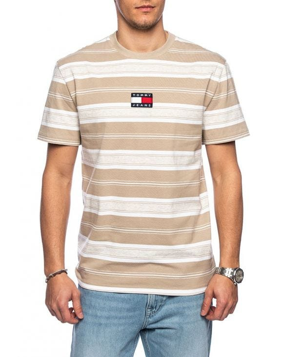 TJM STRIPE LOGO T-SHIRT IN BEIGE
