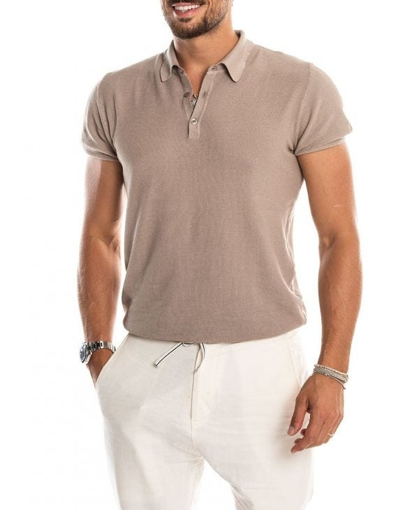 RIBES SHORT-SLEEVED POLO IN TAUPE