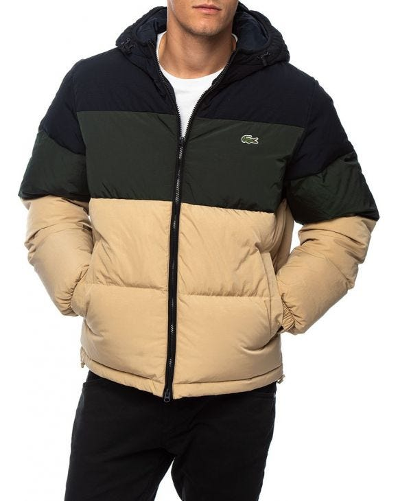 LACOSTE DOWN JACKET IN BEIGE AND GREEN