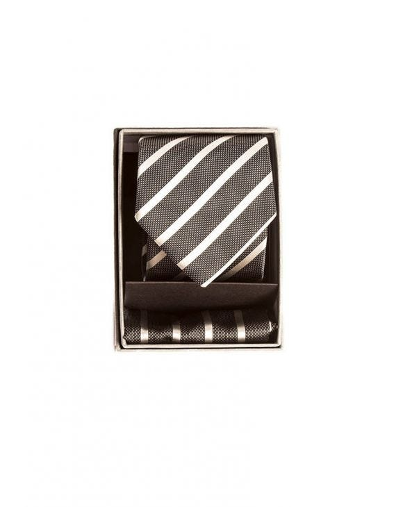 STRIPED NECKTIE IN BLACK AND SILVER