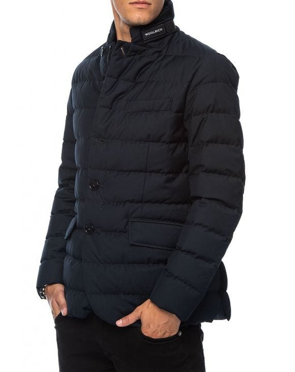 DOWN JACKET IN MELTON BLUE
