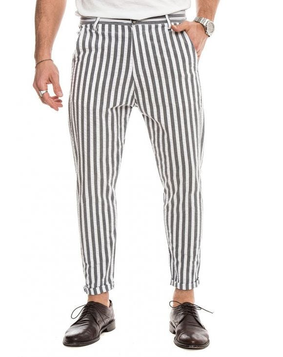 HORUS COTTON TROUSERS IN STRIPED GREY