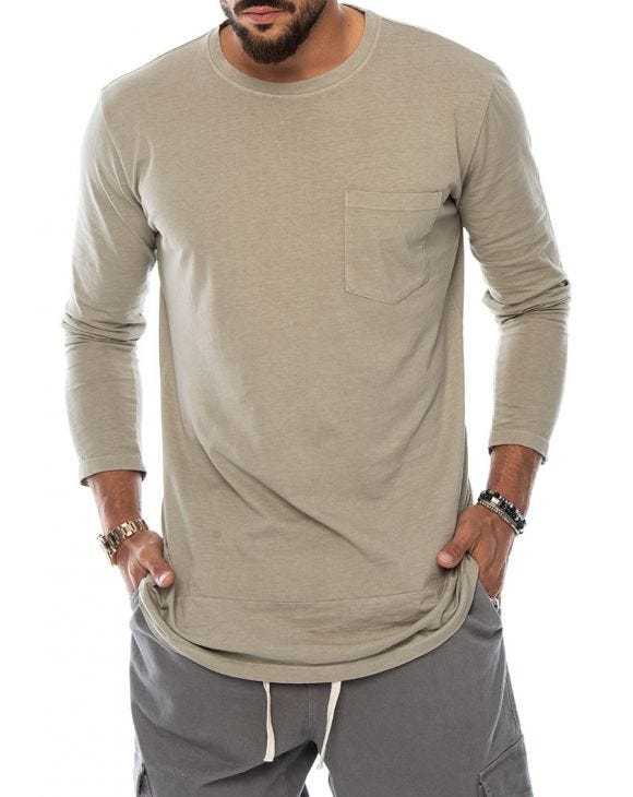 OPPER LONG SLEEVE T-SHIRT IN MUD