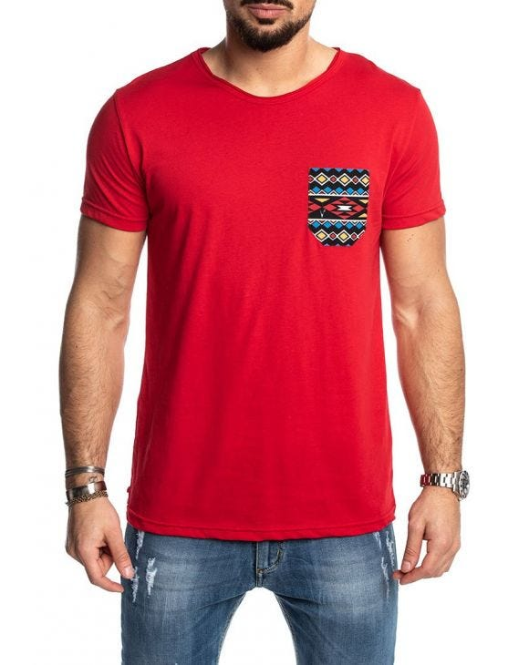 V2 FANTASY POCKET T-SHIRT EN ROUGE