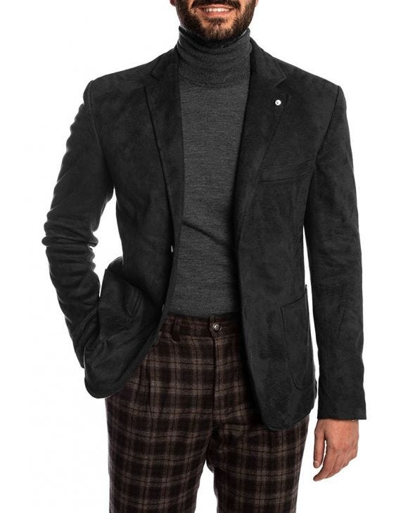 ZIGGY VELOUR BLAZER IN BLACK
