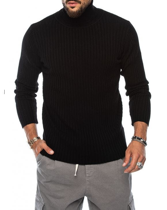 ROBERT ROLLNECK SWEATER IN BLACK