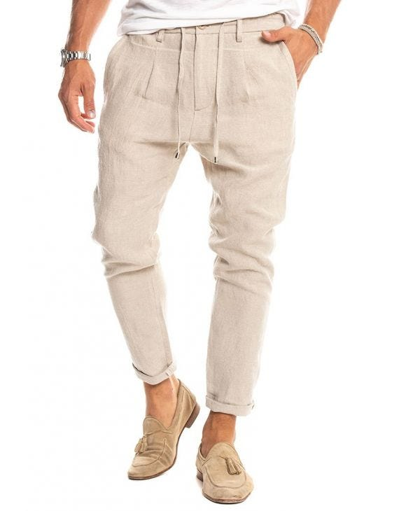 PHANTOM PANTALON BEIGE À LACETS