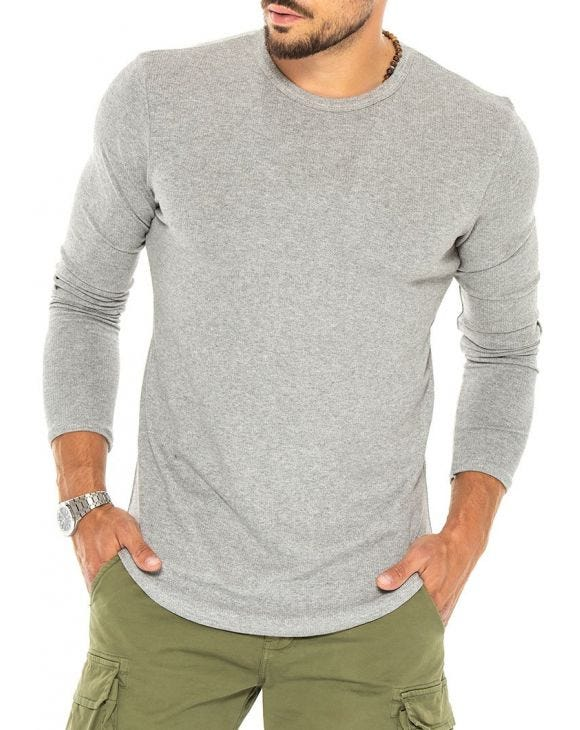 JUDE LONG SLEEVE T-SHIRT IN LIGHT GREY