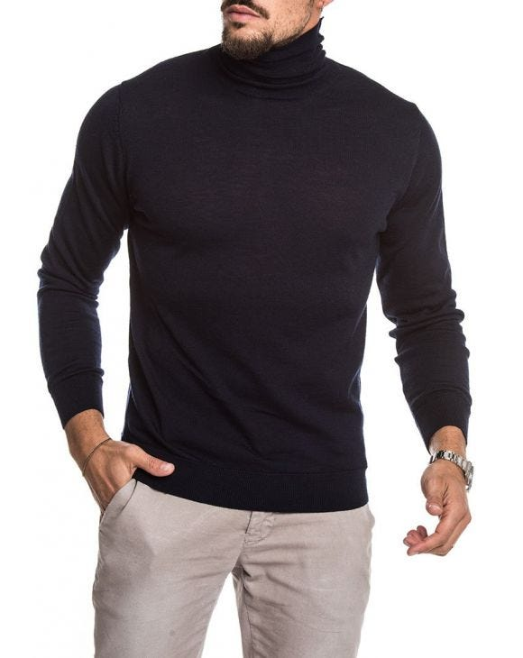 KOROS ROLL NECK JUMPER IN BLUE NAVY