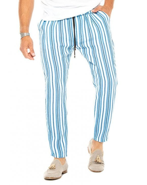DRAKE CASUAL PANTS IN BLUE, BEIGE AND WHITE