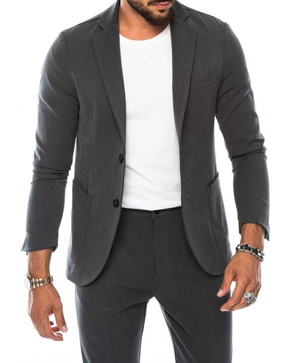 STUART SINGLE BREASTED BLAZER IN LIGHT GREY