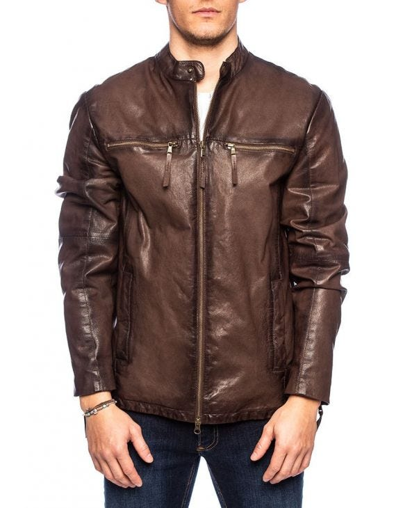 ERNESTO LEATHER JACKET IN DARK BROWN
