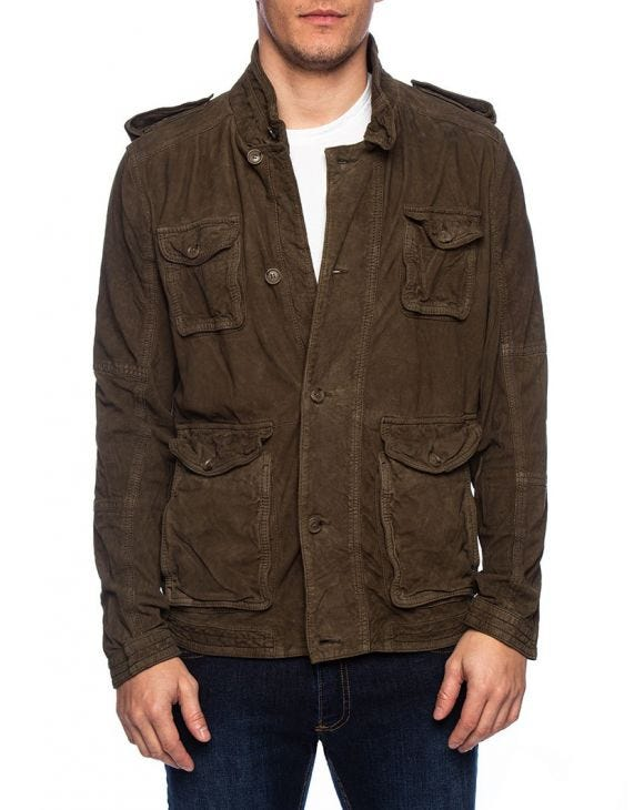 INDIAN SCOUT LEATHER JACKET IN MILITARY GREEN