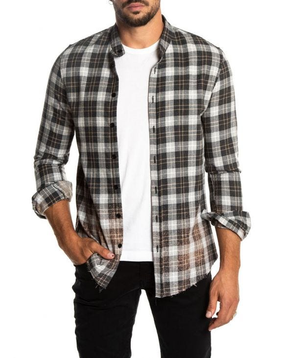 BRAM CHECKED SHIRT IN GREY AND BLACK