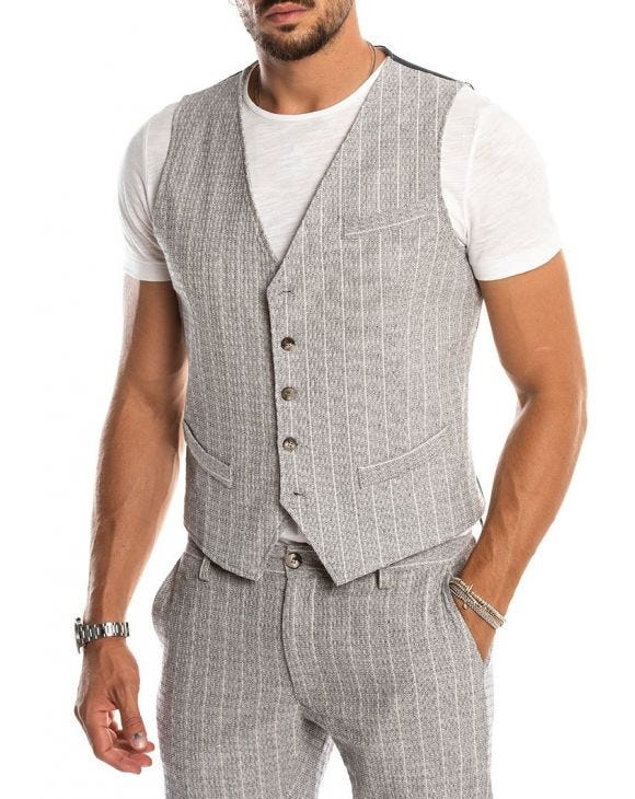 RAKUTEN CASUAL VEST IN LIGHT GREY