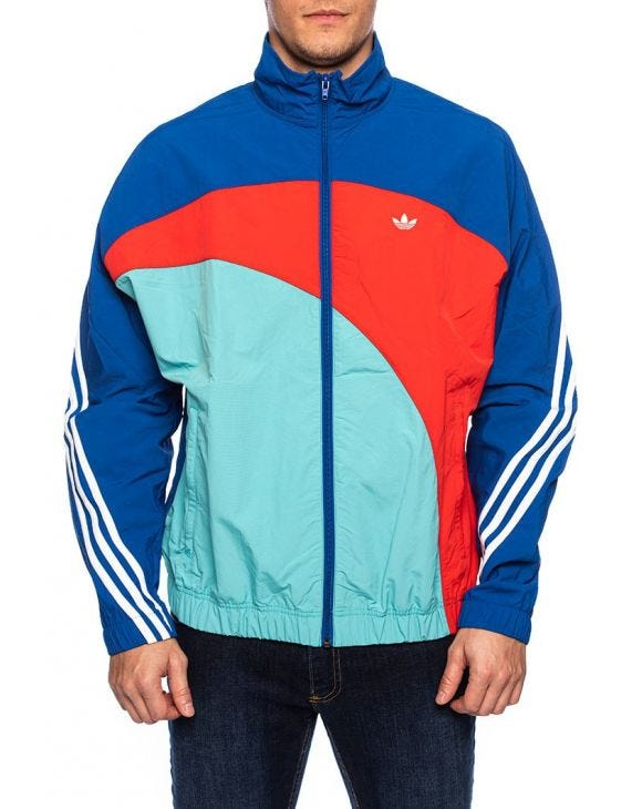 OFF CENTER WB TRACKTOP IN BLUE, RED AND LIGHT BLUE