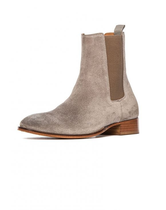 PORTO LEATHER BOOTS IN GREY