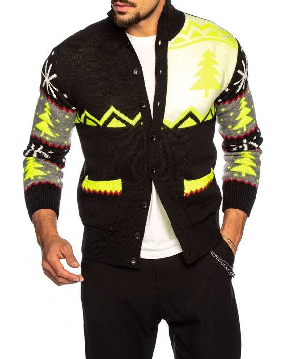 TOD CARDIGAN IN BLACK AND YELLOW