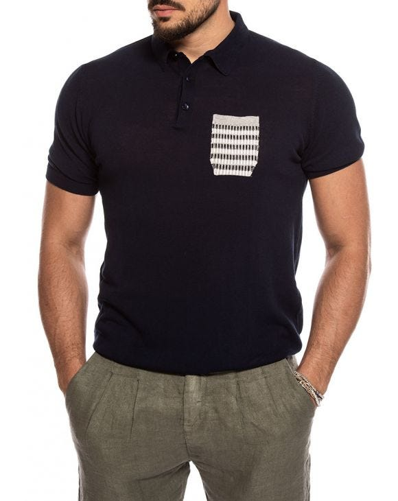 KORVAL POCKET POLO IN BLUE NAVY