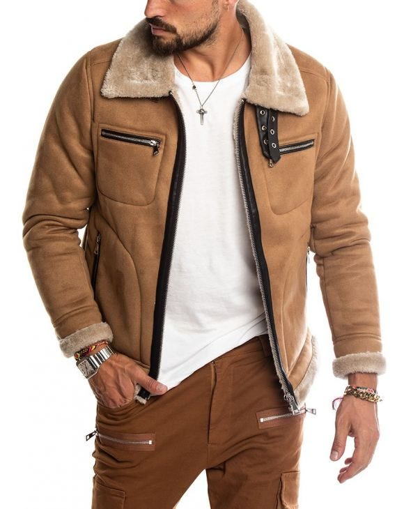 VERMONT SHEARLING JACKET  IN CAMEL