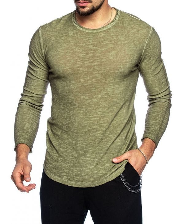 AALOK COTTON LONG-SLEEVE IN ARMY GREEN
