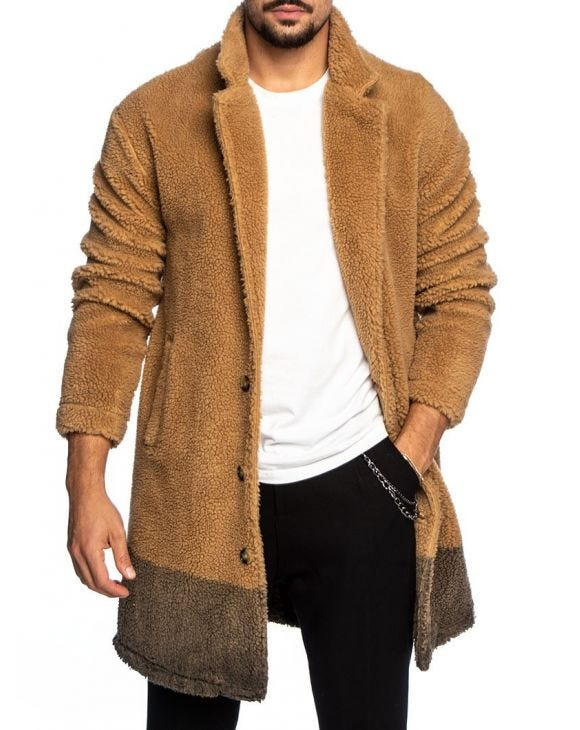 MIKE SHEARLING COAT IN CAMEL AND GREEN
